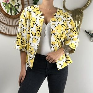 Dress Barn Yellow and Black Floral Cropped Jacket